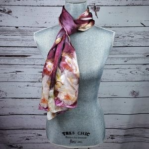Womens Silk Scarf Floral Print Excellent Condition